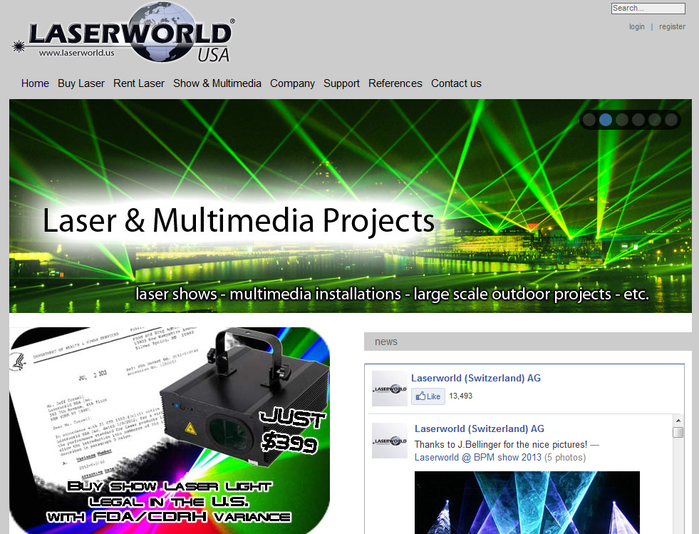 Show Laser Lights Rentals and Services by Laserworld
