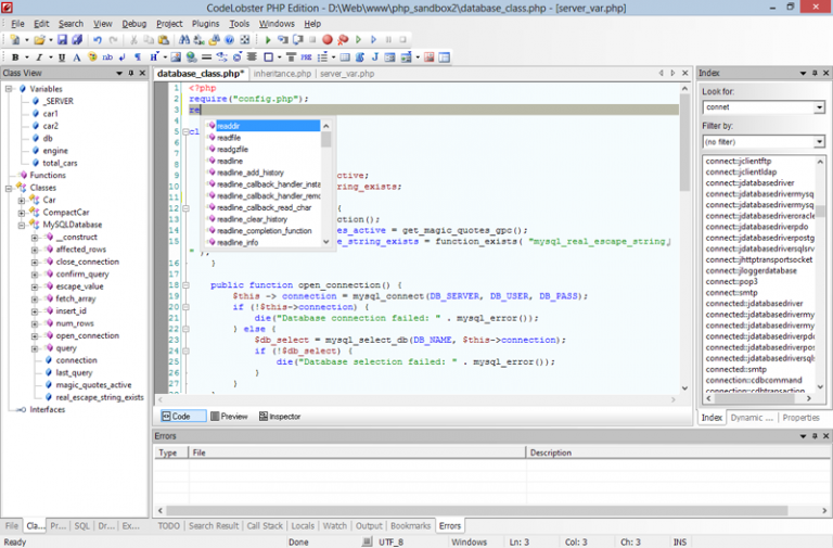 codelobster free php editor